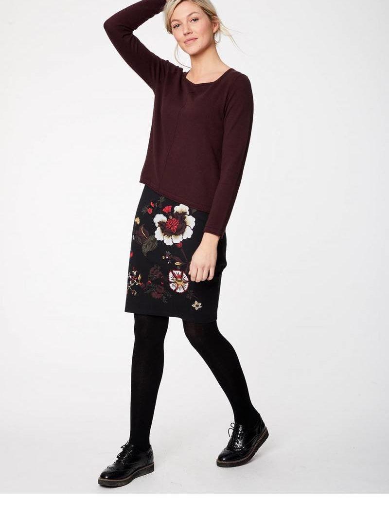 Thought_DithaBonita_PAVANNE_rokje-graphite--pavanne-floral-knee-length-organic-cotton-skirt-0001