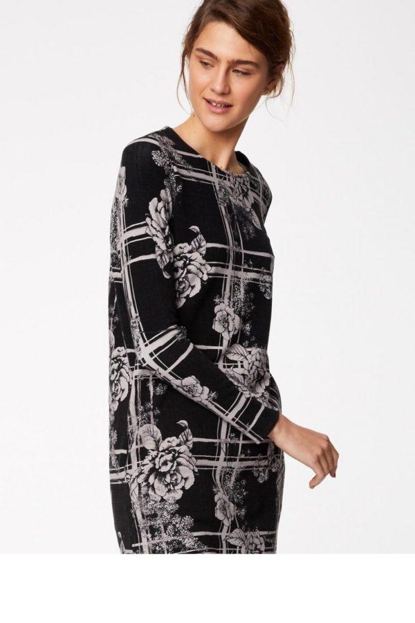 Thought_DithaBonita_tuniekjurkje_biokatoen_wwd3890-black--straight-fit-floral-black-plaid-dress-0001