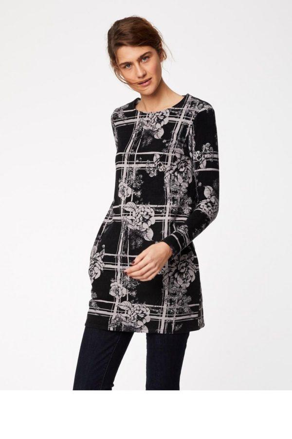 Thought_DithaBonita_tuniekjurkje_biokatoen_wwd3890-black--straight-fit-floral-black-plaid-dress-0003