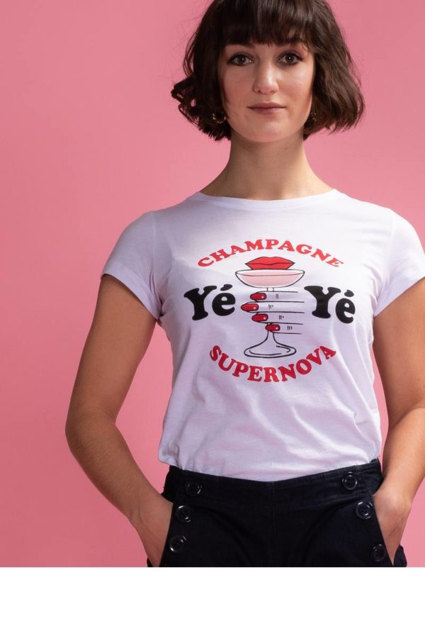 Mademoiselle-YéYé_kleding_Peta_approved_vegan_te-koop-bij-DithaBonita_Champagne Supernova - T-Shirt 2