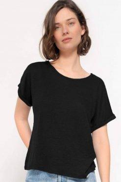 Kuyichi-T-shirt-Bella-linnen-jet-black