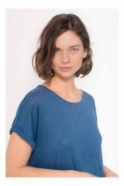 Kuyichi-T-shirt-linnen-royal-blue