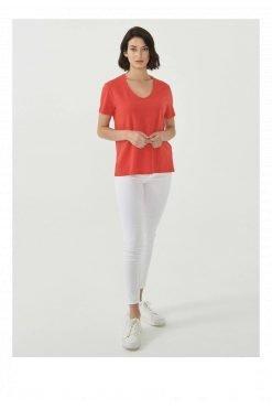 Organication-shirt-dames-rood-biokatoen