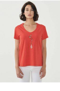 Organication-shirt-dames-rood-print