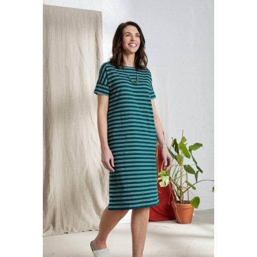 Seasalt-jurkje-Sailor-korte-mouw-stripes-blue-green